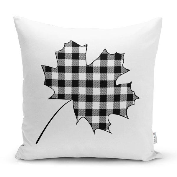 Beyaz Zeminli Siyah Gri Ekose Desenli Dijital Baskılı Modern Yastık Kırlent Kılıfı Realhomes