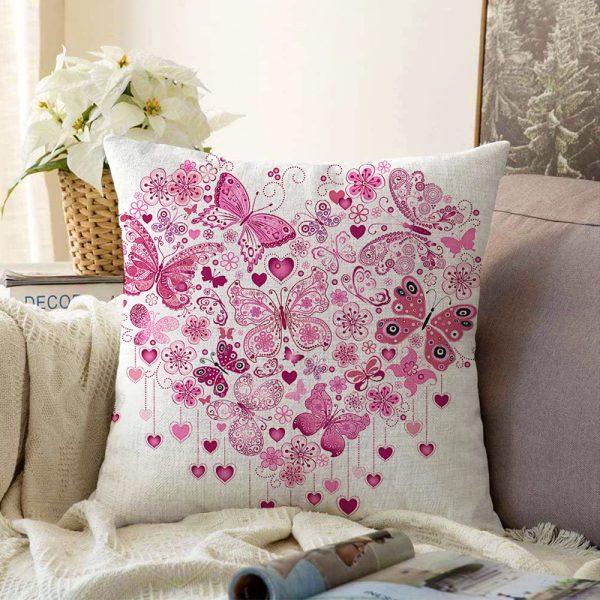 Kalp Desenli Çift Taraflı Dijital Baskılı Dekoratif Şönil Yastık Kırlent Kılıfı - 55 x 55 cm Realhomes