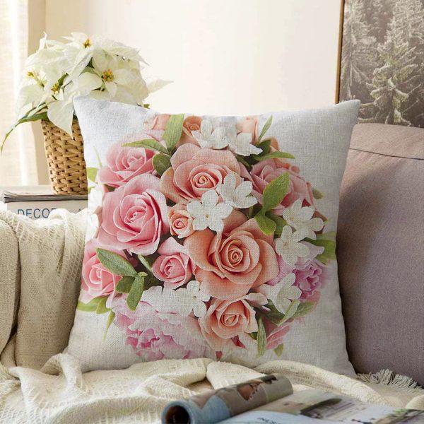 Çift Taraflı Çiçek Desenli Dijital Baskılı Dekoratif Şönil Yastık Kırlent Kılıfı - 55 x 55 cm Realhomes