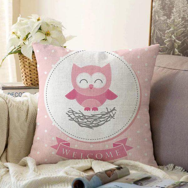 Çift Taraflı Sevimli Baykuş Dijital Baskılı Dekoratif Şönil Yastık Kırlent Kılıfı - 55 x 55 cm Realhomes