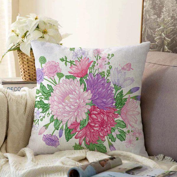 Çift Taraflı Çiçek Motifli Modern Dijital Baskılı Dekoratif Şönil Yastık Kırlent Kılıfı - 55 x 55 cm Realhomes