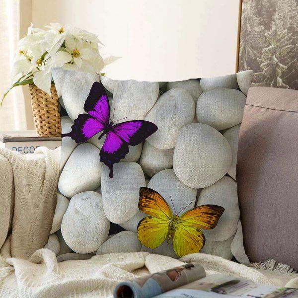 Çift Taraflı Kelebek Desenli Dijital Baskılı Dekoratif Şönil Yastık Kırlent Kılıfı - 55 x 55 cm Realhomes