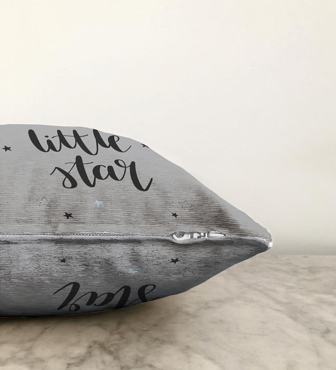 Çift Taraflı Gri Zeminde Little Star Yıldız Tasarımlı Bebek Odası Şönil Yastık Kırlent Kılıfı - 55 x 55 cm Realhomes