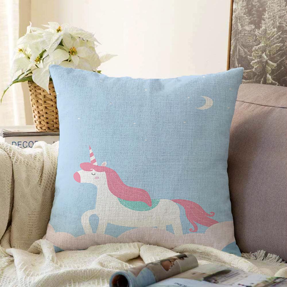 Çift Taraflı Mavi Unicorn At Desenli Dijital Baskılı Bebek Odası Şönil Yastık Kırlent Kılıfı - 55 x 55 cm Realhomes