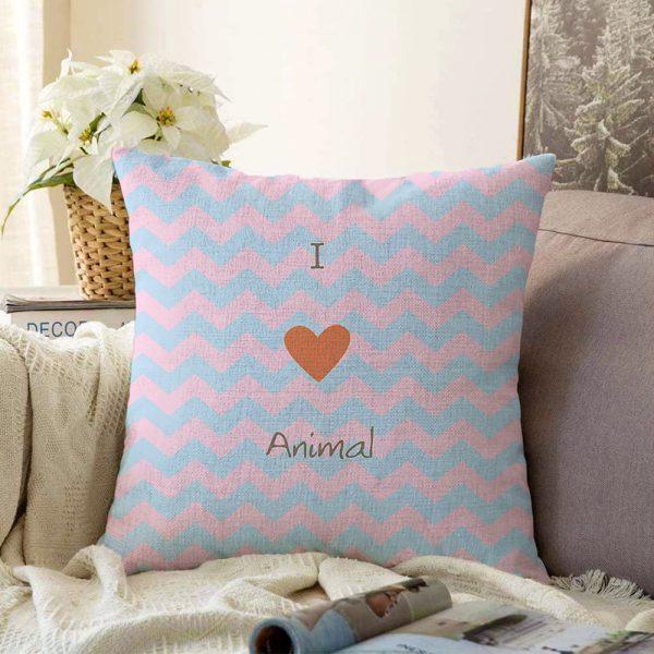 Çift Taraflı Mavi Pembe Zigzaglı I Love Animal Desenli Çocuk Odası Şönil Yastık Kırlent Kılıfı - 55 x 55 cm Realhomes