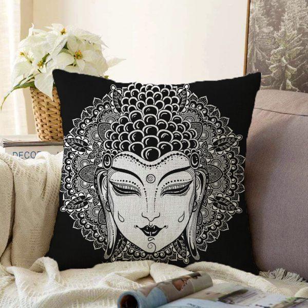 Siyah Beyaz Otantik Woman Çift Taraflı Özel Tasarım Dijital Baskılı Şönil Kırlent Kılıfı - 55 x 55 cm Realhomes