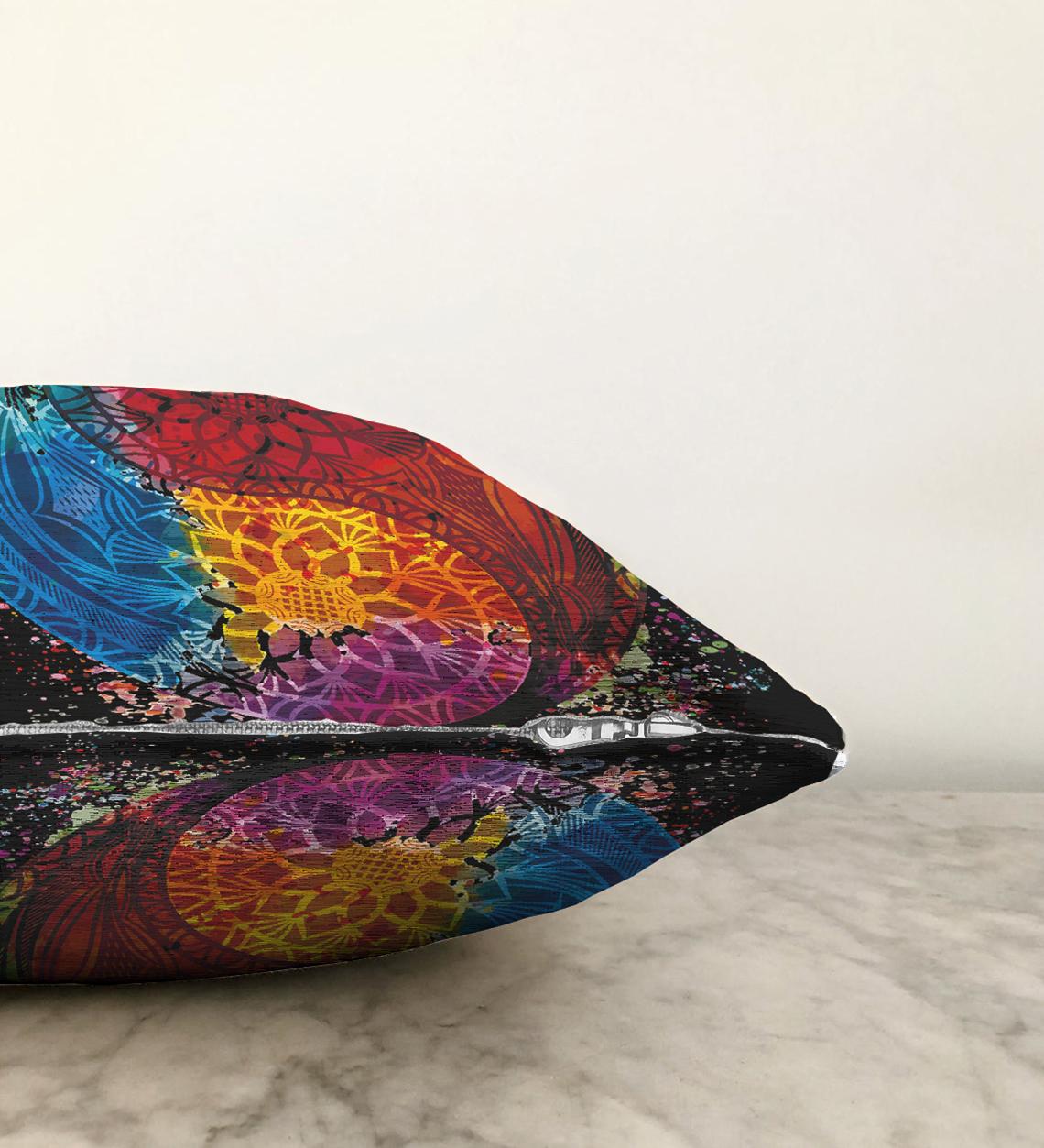 Siyah Zeminde Renkli Uzak Doğu Denge İkonlu Çift Taraflı Dijital Baskılı Şönil Yastık Kırlent Kılıfı - 55 x 55 cm Realhomes