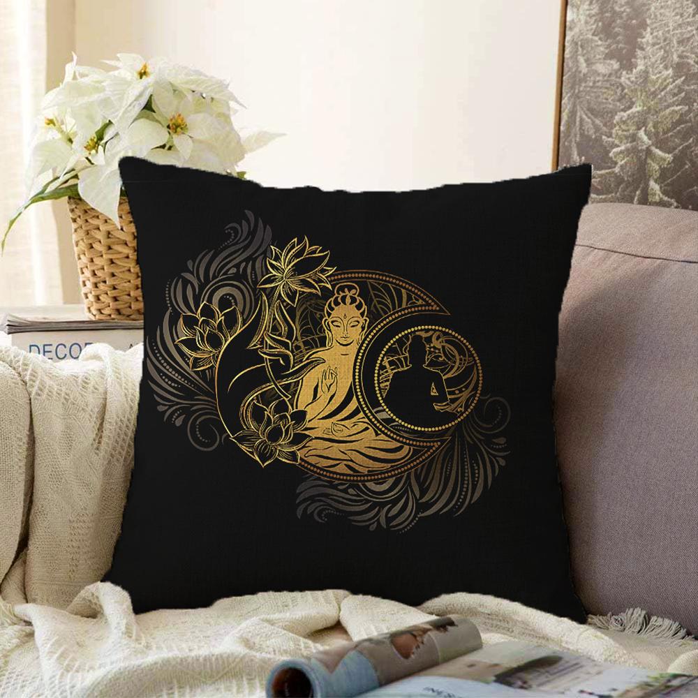 Uzak Doğu Gold Yoga Motifli Çift Taraflı Özel Tasarım Dijital Baskılı Şönil Yastık Kırlent Kılıfı - 55 x 55 cm Realhomes