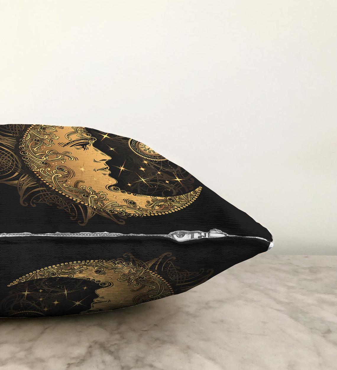 Realhomes Çift Taraflı Özel Tasarım Gold Ay Desenli Saat Şönil Kırlent Kılıfı - 55 x 55 cm Realhomes