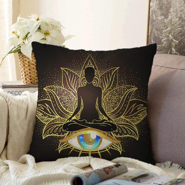 Altın Motifli Yoga Ve Mavi Göz Desenli Özel Tasarım Çift Taraflı Dijital Baskılı Şönil Yastık Kılıfı - 55 x 55 cm Realhomes