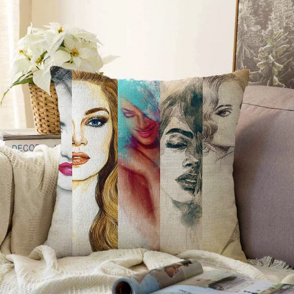 Fashion Womens Çift Taraflı Dijital Baskılı Şönil Kırlent Kılıfı - 55 x 55 cm Realhomes