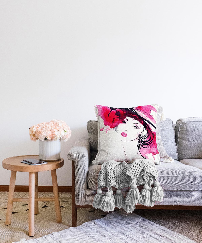 Sulu Boya Özel Tasarım Fashion Women Çift Taraflı Dijital Baskılı Şönil Yastık Kılıfı - 55 x 55 cm Realhomes