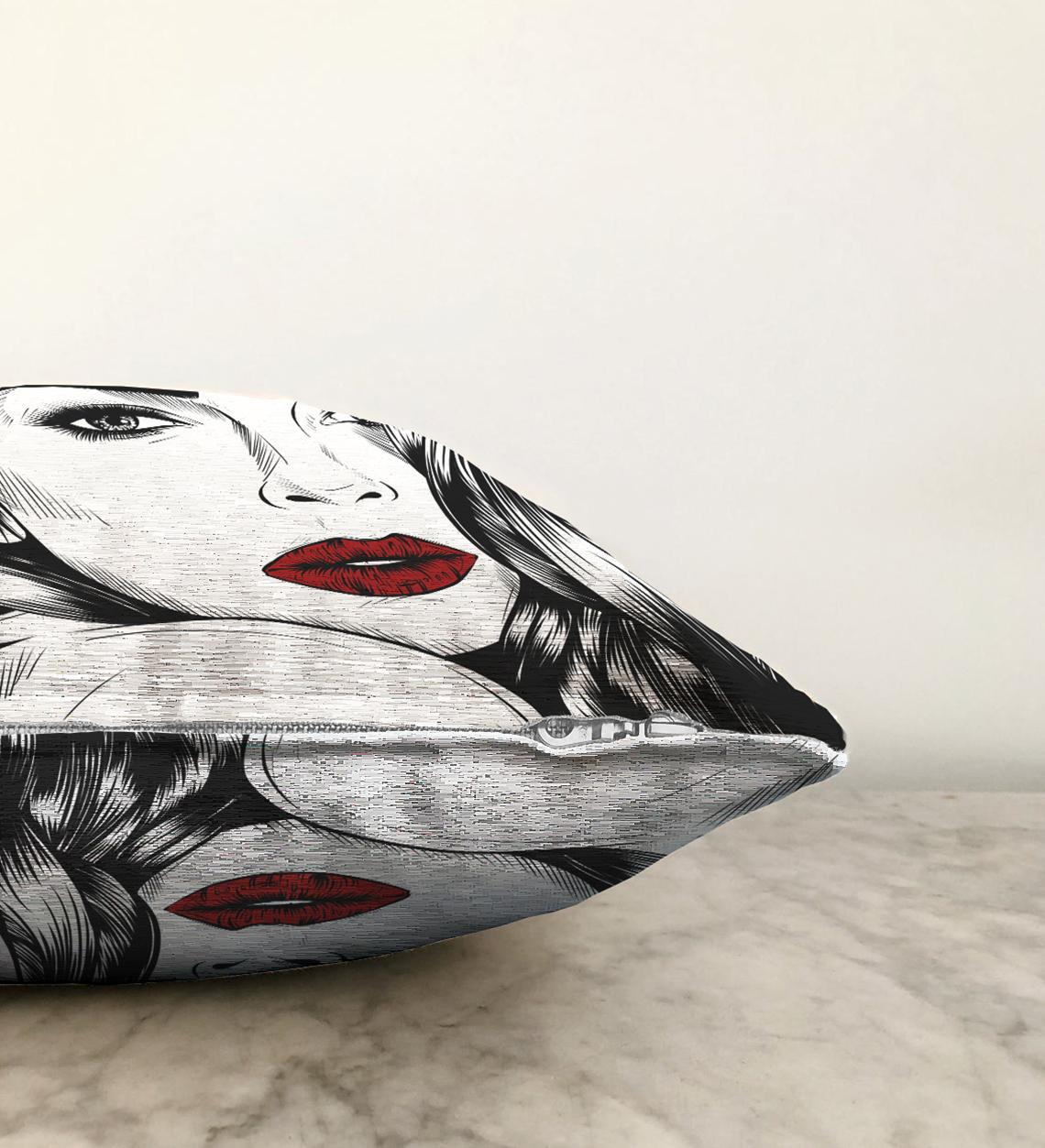 Kırmızı Dudaklı Kara Kalem Çizimli Çift Taraflı Özel Tasarım Şönil Kırlent Kılıfı - 55 x 55 cm Realhomes