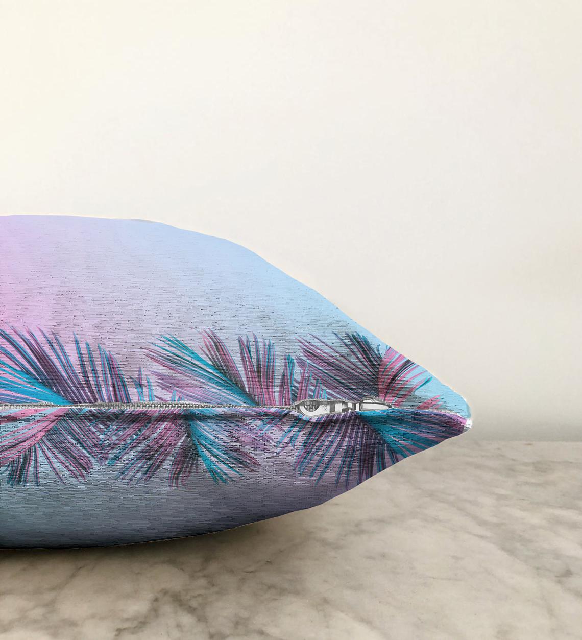 Büyüleyici Renklerde Tropikal Yaprak Motifli Çift Taraflı Özel Tasarım Modern Şönil Kırlent Kılıfı - 55 x 55 cm Realhomes