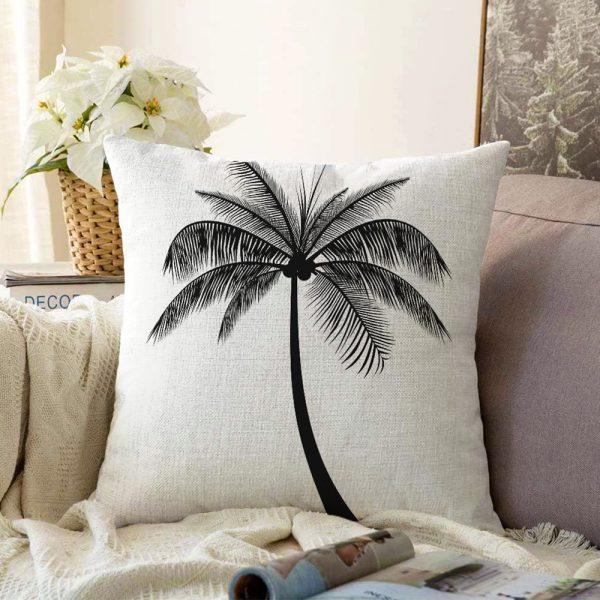 Beyaz Zeminde Siyah Palmiye Desenli Çift Taraflı Özel Tasarım Şönil Yastık Kılıfı - 55 x 55 cm Realhomes