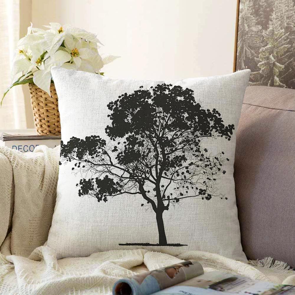 Çift Taraflı Dekoratif Doğa Çizimli Ağaç Motifli Şönil Kırlent Kılıfı - 55 x 55 cm Realhomes