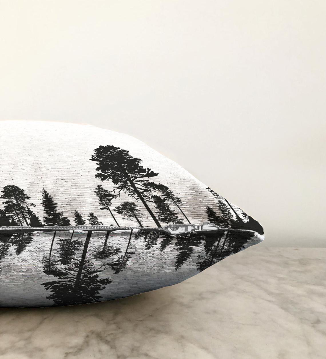 Realhomes Ağaç Tasarımlı Çift Taraflı Dekoratif Şönil Yastık Kılıfı - 55 x 55 cm Realhomes