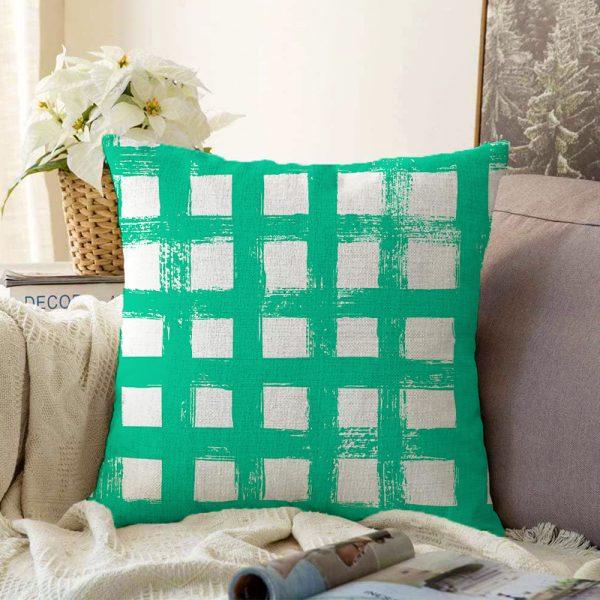 Yeşil Zeminde Geometrik Kare Motifli Çift Taraflı Dekoratif Şönil Yastık Kılıfı - 55 x 55 cm Realhomes