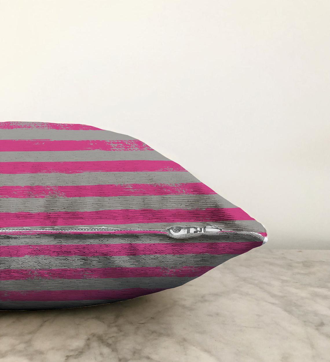 Çizgi Kolaj Motifli Çift Taraflı Dekoratif Modern Şönil Yastık Kılıfı - 55 x 55 cm Realhomes