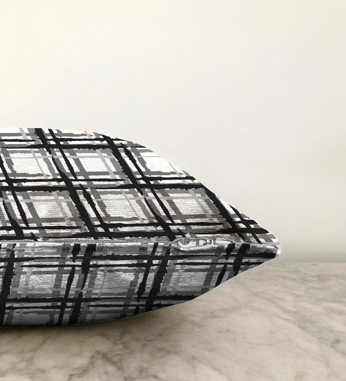 Izgara Zeminde Gri Tonlama Dijital Baskılı Çift Taraflı Özel Tasarım Şönil Kırlent Kılıfı - 55 x 55 cm Realhomes