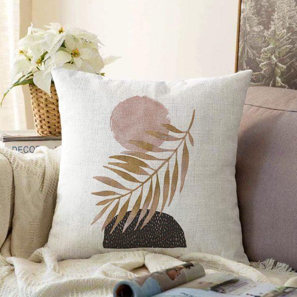 Beyaz Zemin Üzerinde Gold Yaprak Motifli Çift Taraflı Dekoratif Şönil Yastık Kılıfı - 55 x 55 cm Realhomes