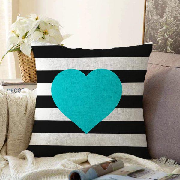 Modern Kalp Desenli Çift Taraflı Dijital Baskılı Dekoratif Şönil Yastık Kırlent Kılıfı - 55 x 55 cm Realhomes