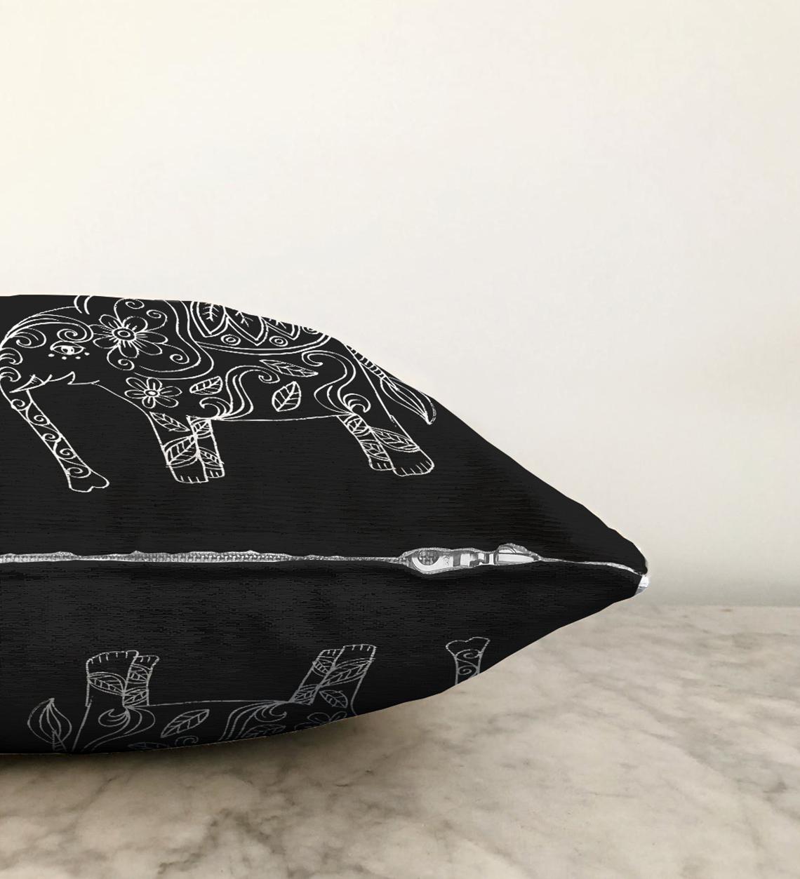 Çift Taraflı Retro Mandala Fil Desenli Özel Tasarım Şönil Kırlent Kılıfı - 55 x 55 cm Realhomes