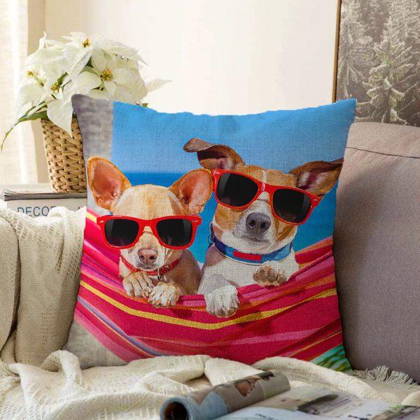 Hamaktaki Köpek Motifli Modern Çift Taraflı Şönil Yastık Kırlent Kılıfı - 55 x 55 cm Realhomes