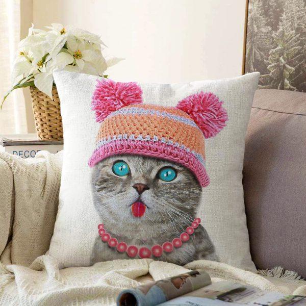 Sevimli Kedi Desenli Dijital Baskılı Modern Çift Taraflı Şönil Yastık Kırlent Kılıfı - 55 x 55 cm Realhomes