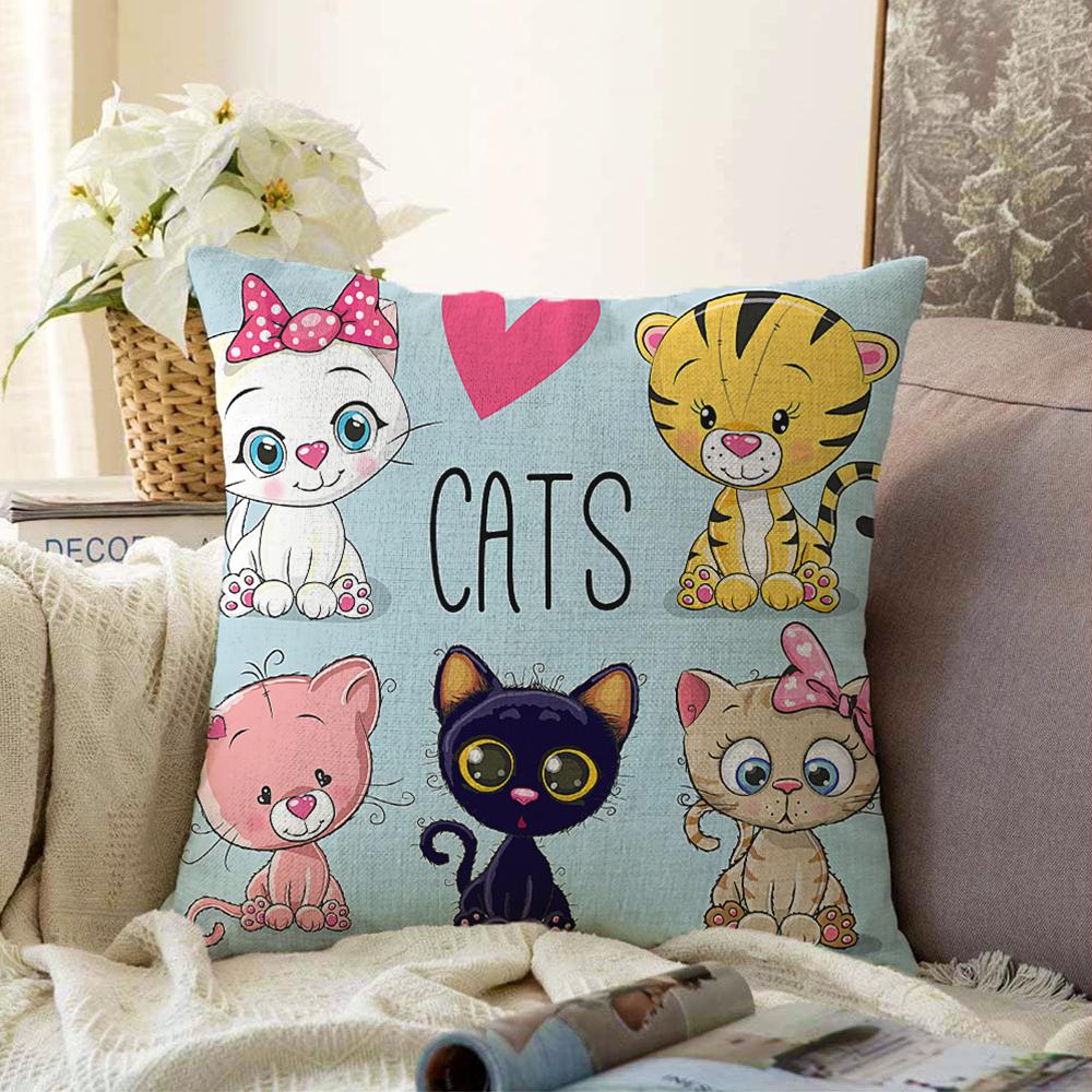 Cats Motifli Dijital Baskılı Modern Çift Taraflı Şönil Yastık Kırlent Kılıfı - 55 x 55 cm Realhomes