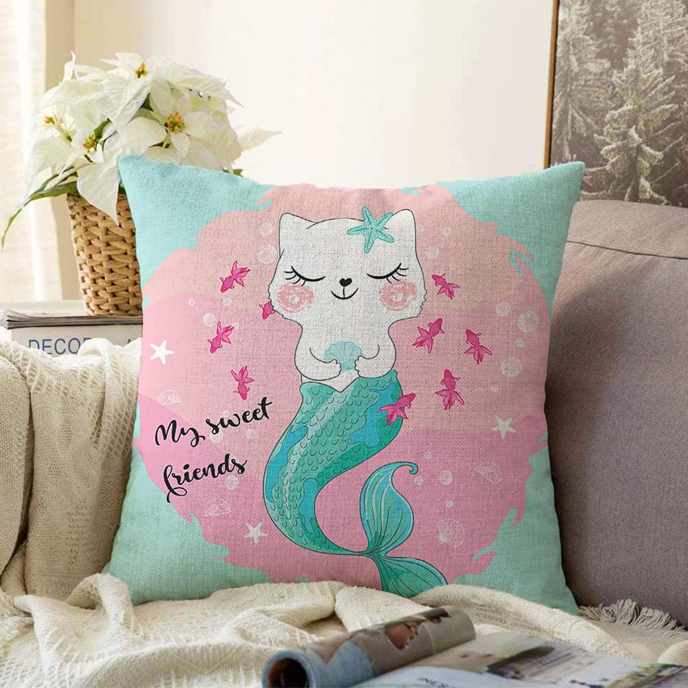 My Sweet Friends Deniz Kızlı Kedi Özel Tasarımlı Çift Taraflı Şönil Yastık Kılıfı - 55 x 55 cm Realhomes