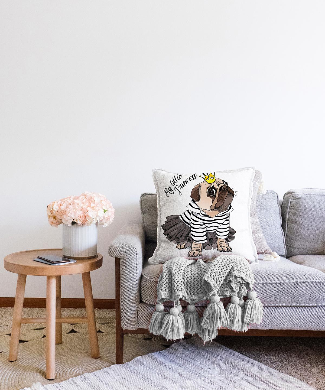 My Little Princess Taçlı Köpek Dijital Baskılı Modern Çift Taraflı Şönil Yastık Kırlent Kılıfı - 55 x 55 cm Realhomes
