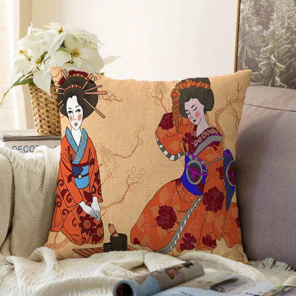 Çift Taraflı Çiçek Desenli Yelpazeli Japon Kız Motifli Modern Şönil Yastık Kılıfı - 55 x 55 cm Realhomes