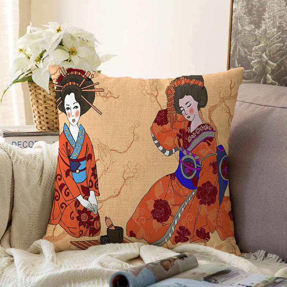 Çift Taraflı Uzak Doğu Kültürlü Japon Kadın Dijital Baskılı Dekoratif Şönil Kırlent Kılıfı - 55 x 55 cm Realhomes