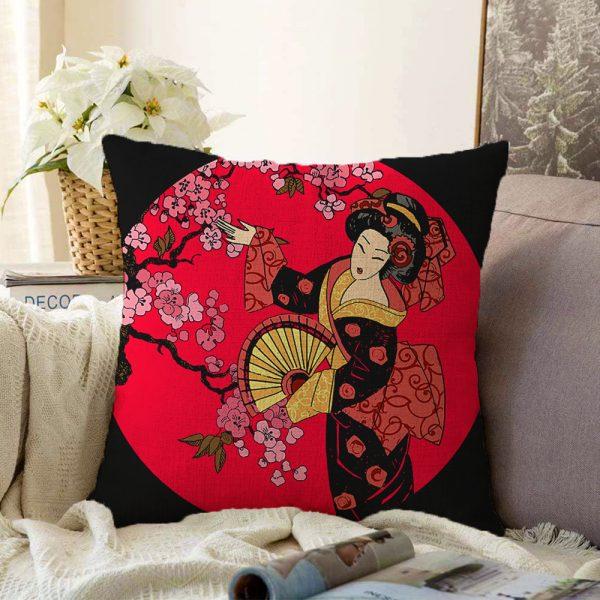 Çift Taraflı Çiçek Desenli Yelpazeli Japon Kız Motifli Modern Şönil Kırlent Kılıfı - 55 x 55 cm Realhomes