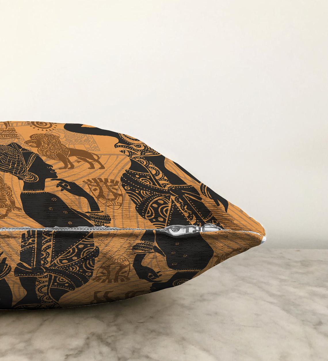 Çift Taraflı Etnik Afrika Desenli Modern Şönil Kırlent Kılıfı - 55 x 55 cm Realhomes