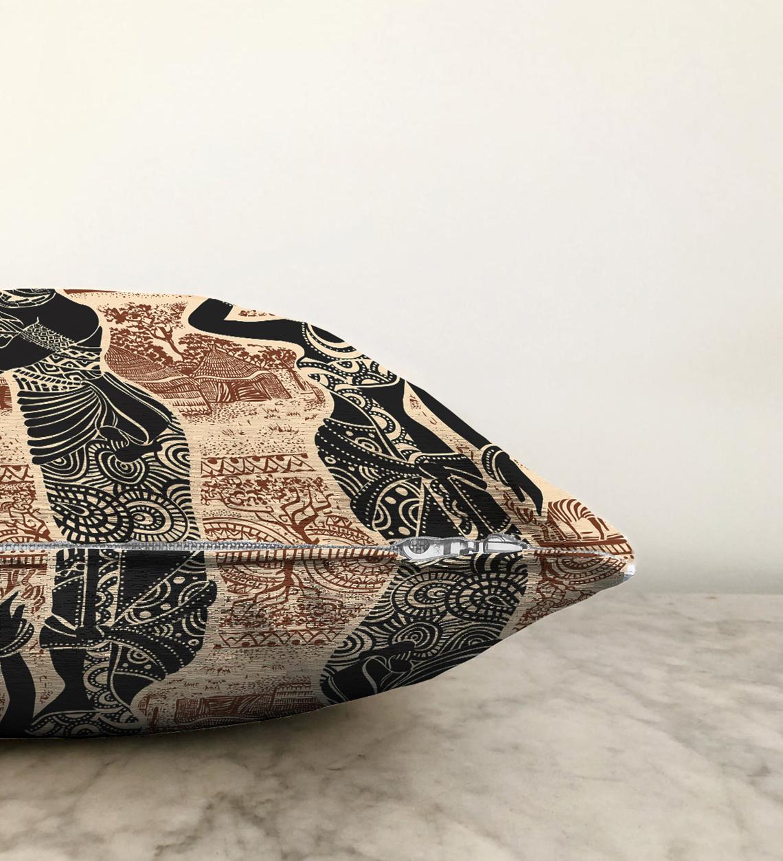 Çift Taraflı Etnik Desen Zeminli Afrika Kadın Motifli Dekoratif Şönil Yastık Kılıfı - 55 x 55 cm Realhomes