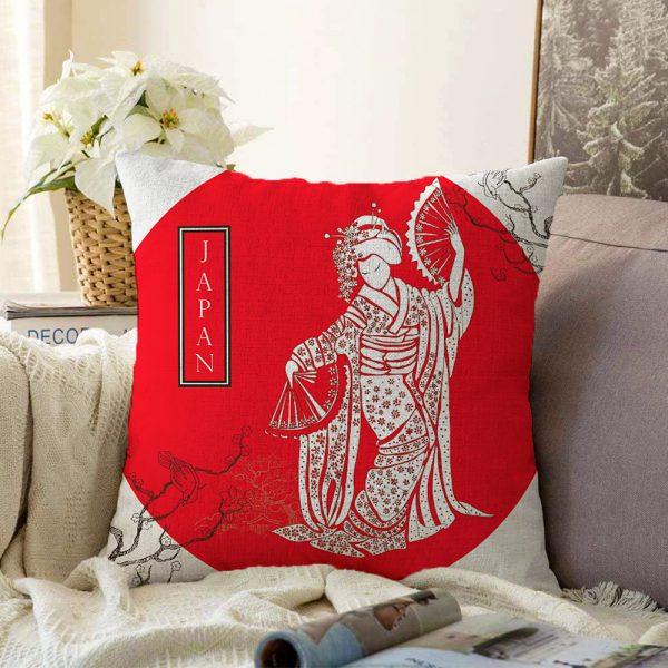 Çift Taraflı Kırmızı Zeminli Köpek Tutan Hanım Desenli Modern Şönil Kırlent Kılıfı - 55 x 55 cm Realhomes
