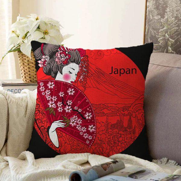 Çift Taraflı Çiçek Detaylı Modern Kadın Motifli Dekoratif Şönil Yastık Kılıfı - 55 x 55 cm Realhomes