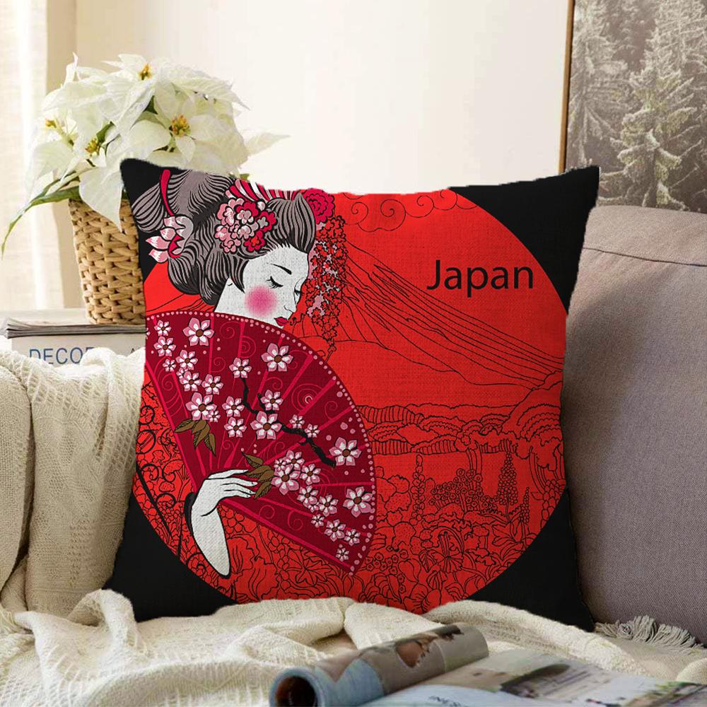 Çift Taraflı Kırmızı Yelpazeli Şaman Japan Kadın Dekoratif Şönil Yastık Kılıfı - 55 x 55 cm Realhomes