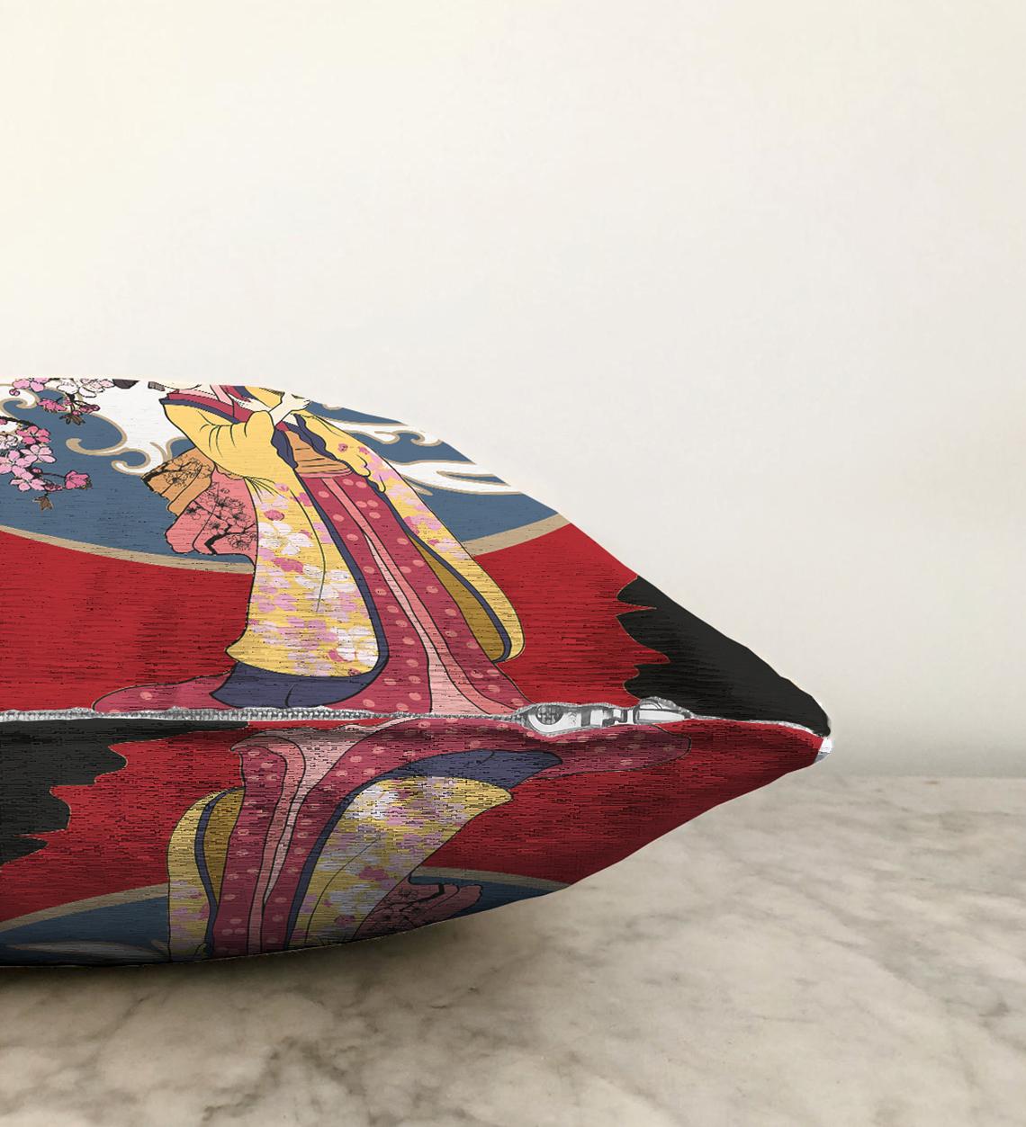 Çift Taraflı Yelpazeli Japon Kadın Motifli Dekoratif Şönil Yastık Kılıfı - 55 x 55 cm Realhomes