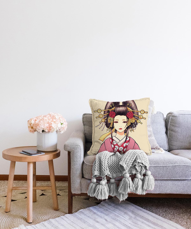 Çift Taraflı Masum Baskan Japon Kız Motifli Modern Şönil Kırlent Kılıfı - 55 x 55 cm Realhomes