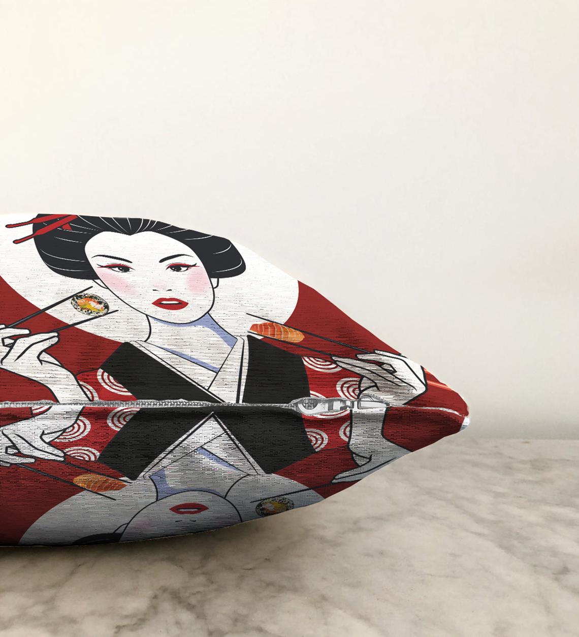 Çift Taraflı Suşi Yiyen Japon Kız Motifli Modern Şönil Yastık Kılıfı - 55 x 55 cm Realhomes
