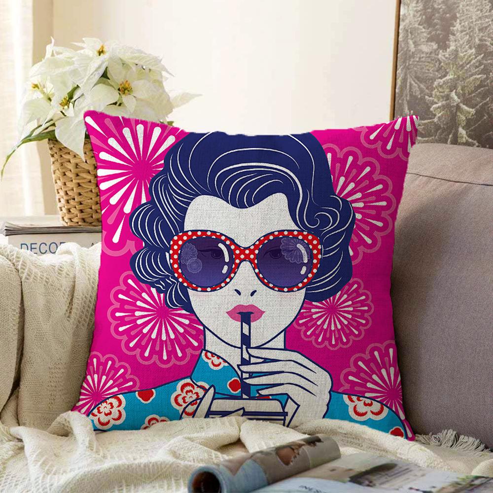 Çift Taraflı Pembe Zeminde Havai Fişek Figürlü Gözlüklü Fashion Girl Modern Şönil Kırlent Kılıfı - 55 x 55 cm Realhomes