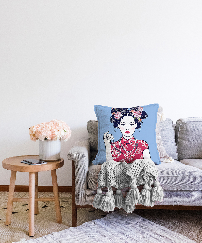 Çift Taraflı İnci Kolyeli Japon Kadın Dijital Baskılı Modern Şönil Kırlent Kılıfı - 55 x 55 cm Realhomes
