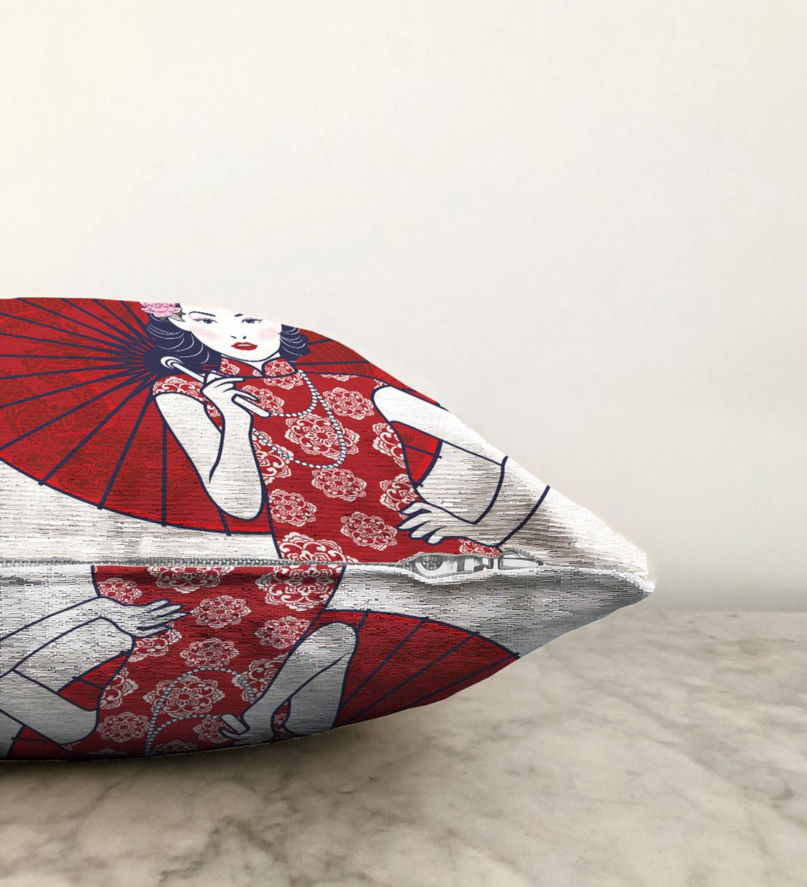Çift Taraflı Sırtında Kırmızı Şemsiyeli Japon Kadın Motifli Şönil Kırlent Kılıfı - 55 x 55 cm Realhomes