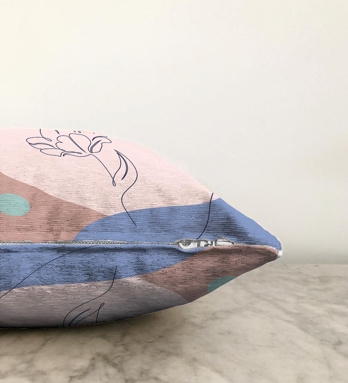 Realhomes Çift Taraflı Gül Desenli Bohemian Özel Tasarım Dekoratif Şönil Yastık Kırlent Kılıfı - 55 x 55 cm Realhomes