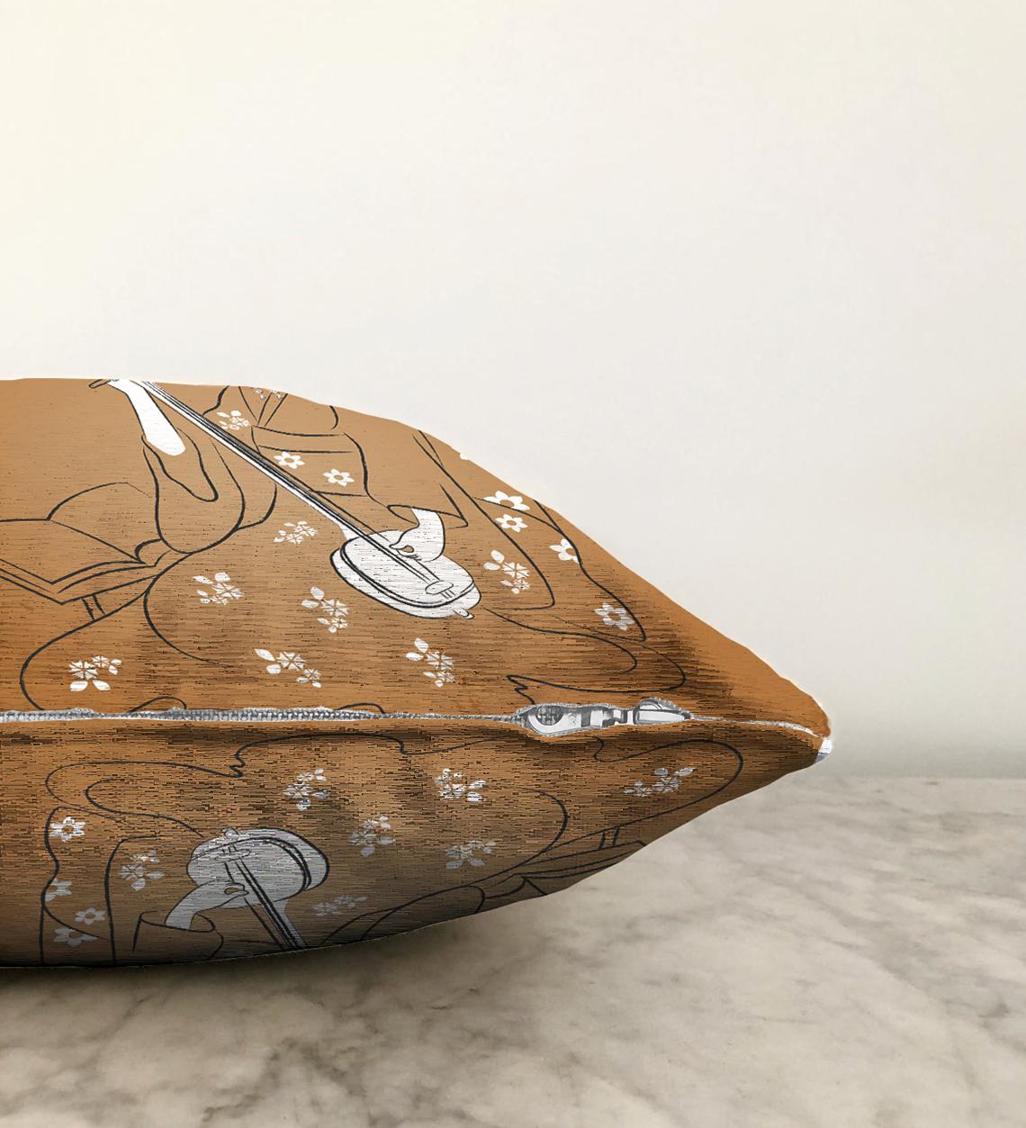 Realhomes Çift Taraflı Dijital Baskılı Özel Tasarım Dekoratif Modern Şönil Kırlent Kılıfı - 55 x 55 cm Realhomes