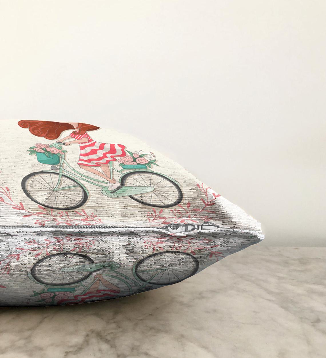 Çift Taraflı Modern Bisiklet Desenli Dijital Baskılı Dekoratif Şönil Yastık Kırlent - 55 x 55 cm Realhomes