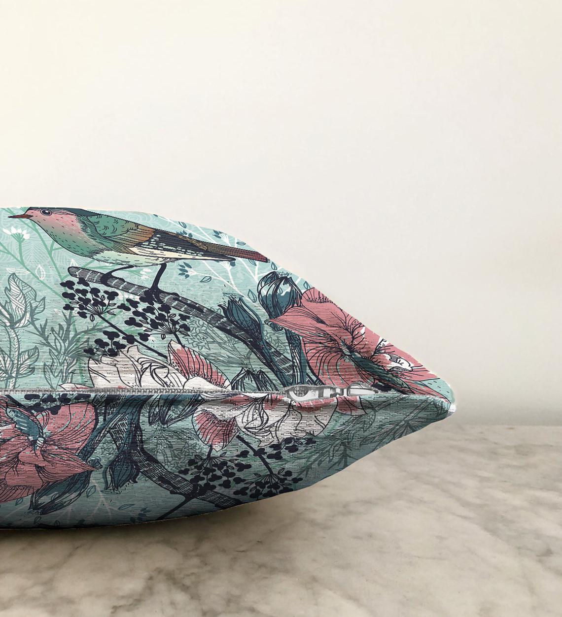 Çift Taraflı Kuş Motifli Dijital Baskılı Dekoratif Şönil Yastık Kırlent Kılıfı - 55 x 55 cm Realhomes